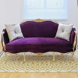 Classic French Purple Sofa Top With Cushions