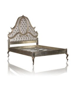 CARVED & BUTTON BACK UPHOLSTERED ROYALE FRENCH BED