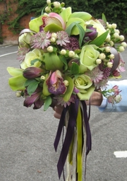 Img 0218  Lime and aubergine Orchid and rose bouquet