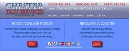 Book a taxi in Chester with us online
